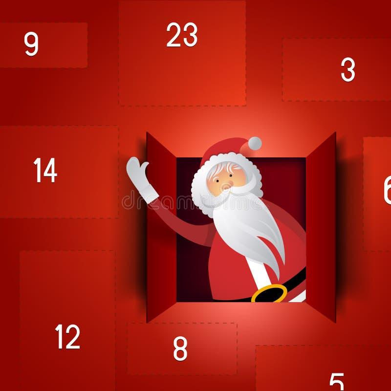 Santa Adventkalender vektor illustrationer
