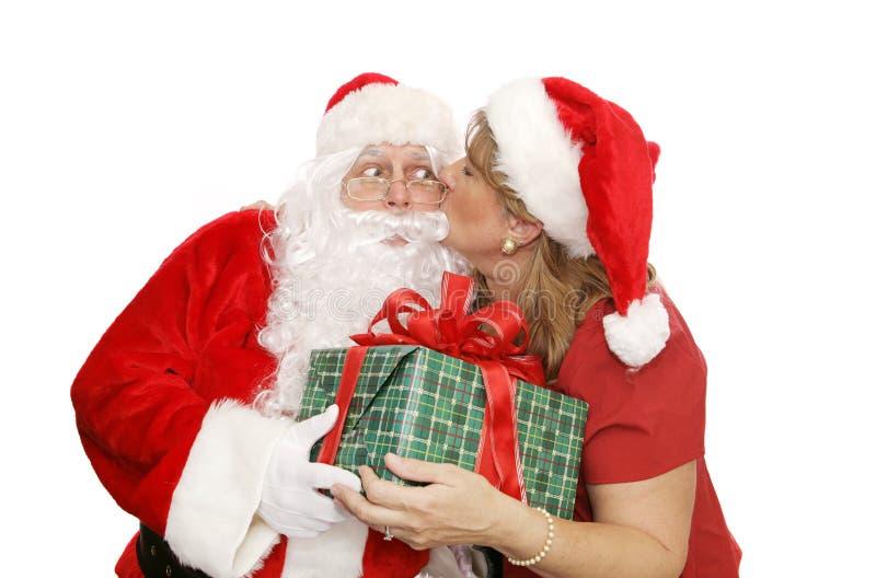 Santa agradecem-lhe beijar fotos de stock