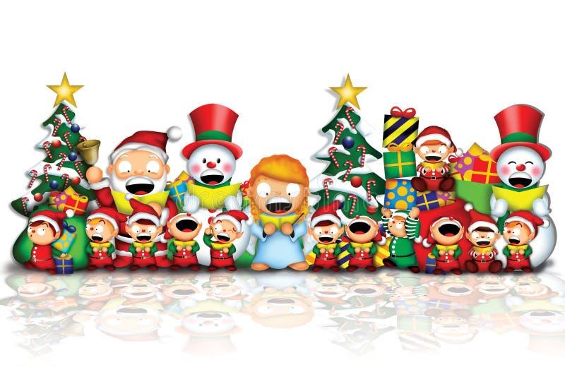 Santa & amigos ilustração royalty free