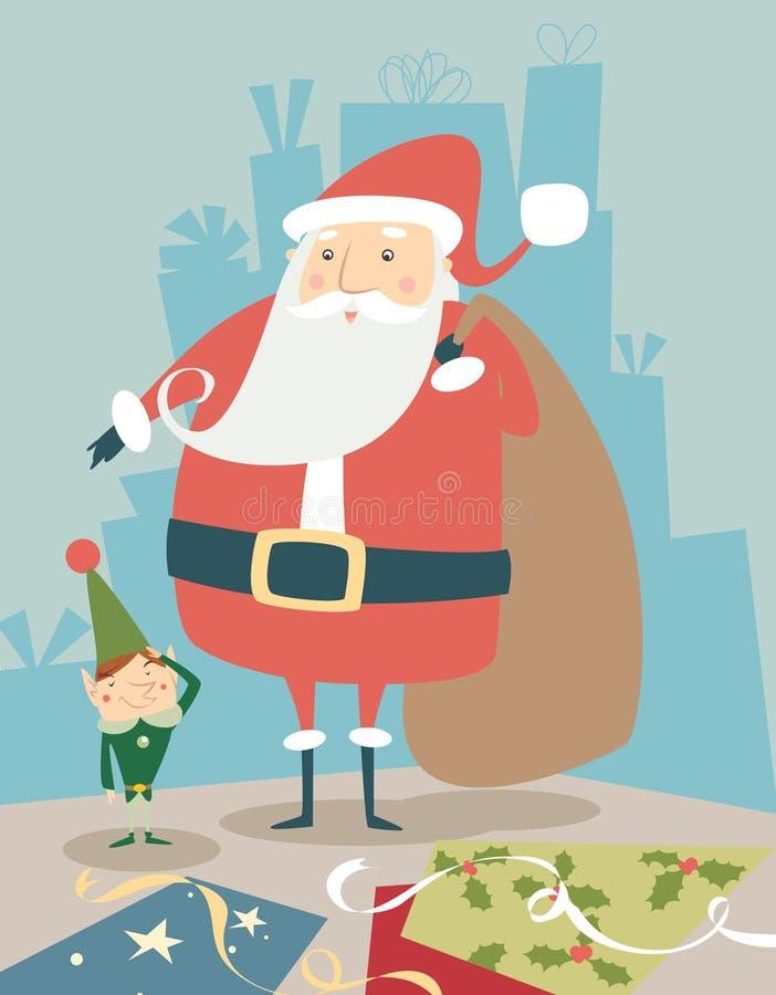 Santa & duende ilustração royalty free