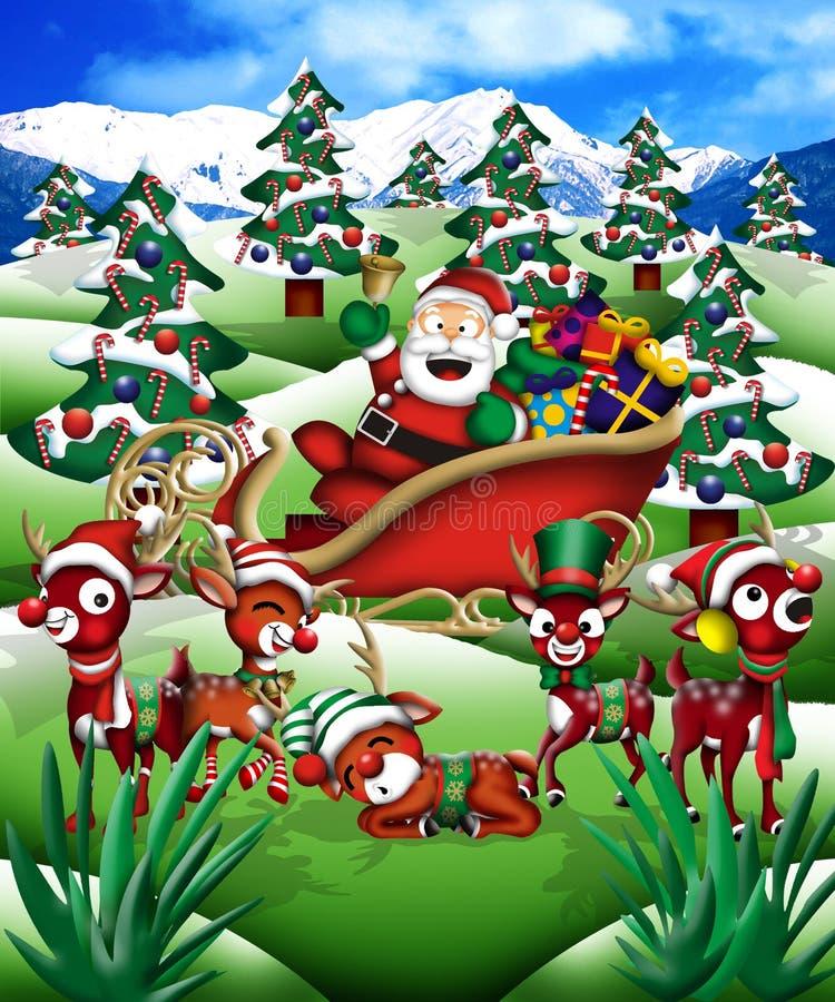 Santa & la sua renna illustrazione di stock