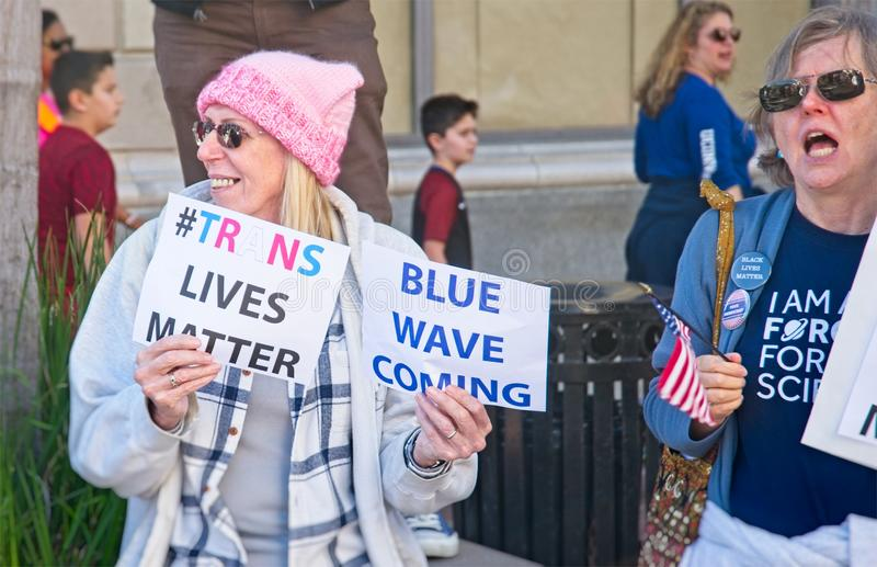 2018 Women`s March in Santa Ana. Santa Ana, California - January 20, 2018: Women supporting trans sexuals at the 2018 Women`s March in Santa Ana. In hundreds of stock photo