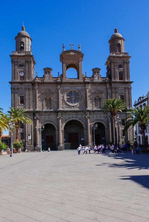 Santa Ana Catedral, Plaza Santa Ana, Vegueta Old Town in Las Palmas.  royalty free stock photo