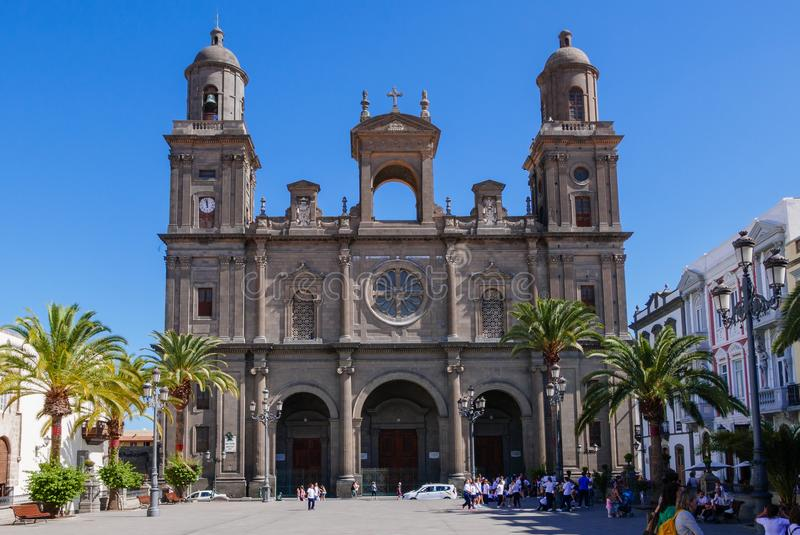 Santa Ana Catedral, Plaza Santa Ana, Vegueta Old Town in Las Palmas.  royalty free stock images