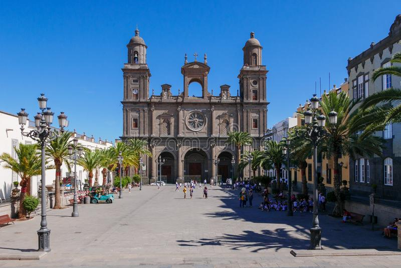 Santa Ana Catedral, Plaza Santa Ana, Vegueta Old Town in Las Palmas.  stock photos