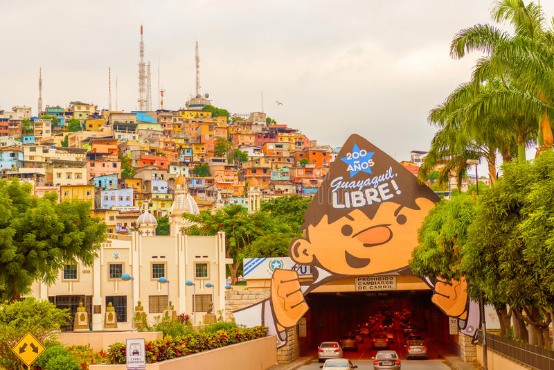 Santa Ana hill in Guayaquil, Ecuador. Guayaquil, Ecuador - April 15, 2016: Panoramic view at the cell phone towers and colorful houses of Guayaquil's Cerro royalty free stock images