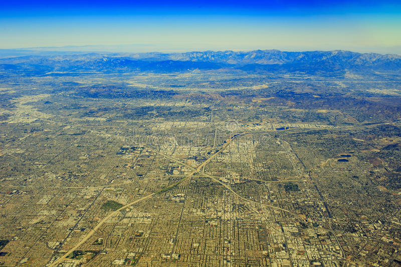 Santa Ana from top. Aerial view of Santa Ana in airplane stock images