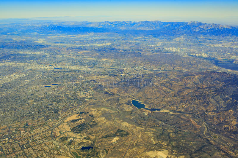 Santa Ana from top. Aerial view of Santa Ana in airplane stock photo