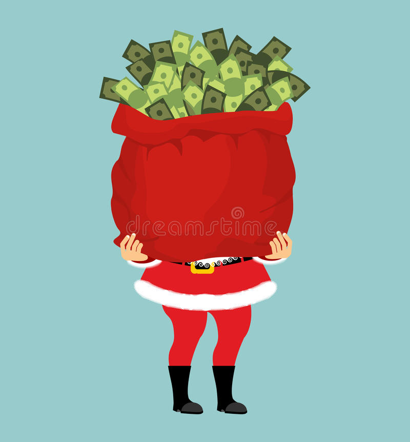 Free Santa And Bag Of Money. Christmas Gift Cash. Red Sack With Dollars Stock Photo - 82573630
