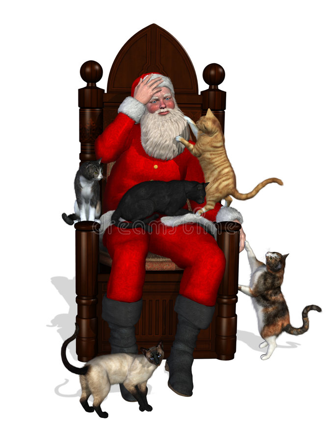 Free Santa And The Cats Royalty Free Stock Images - 3177439