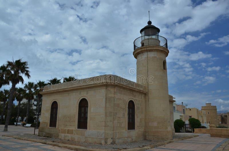 Santa Anna Lighthouse i Roquetas de Fördärva royaltyfri bild