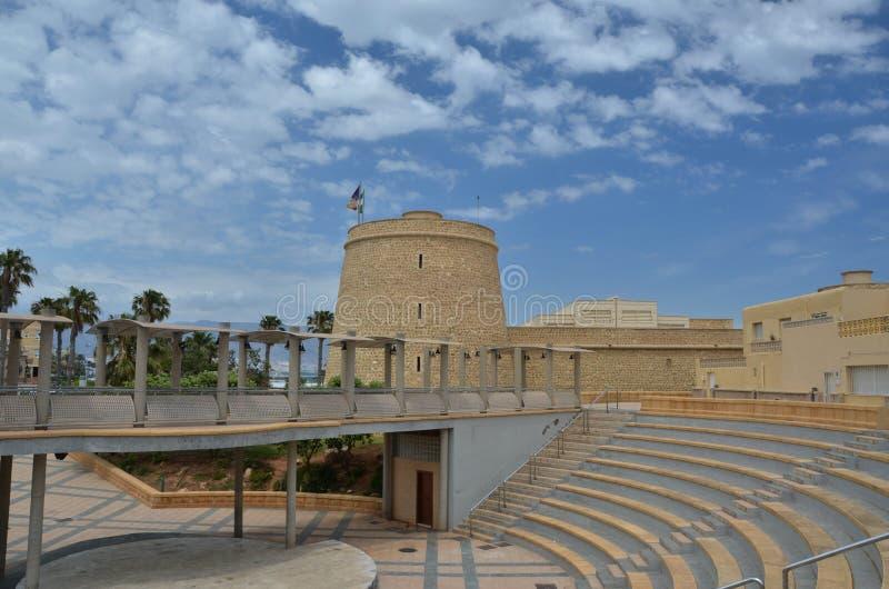 Santa Anna slott i Roquetas de Fördärva royaltyfria bilder