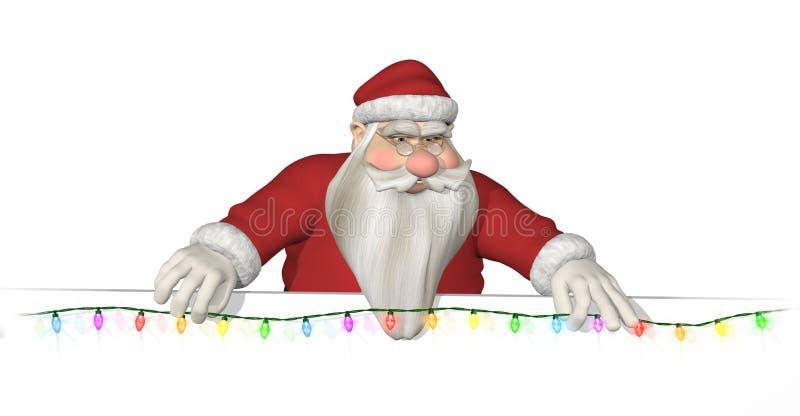 Santa appende gli indicatori luminosi attraverso un bordo illustrazione vettoriale