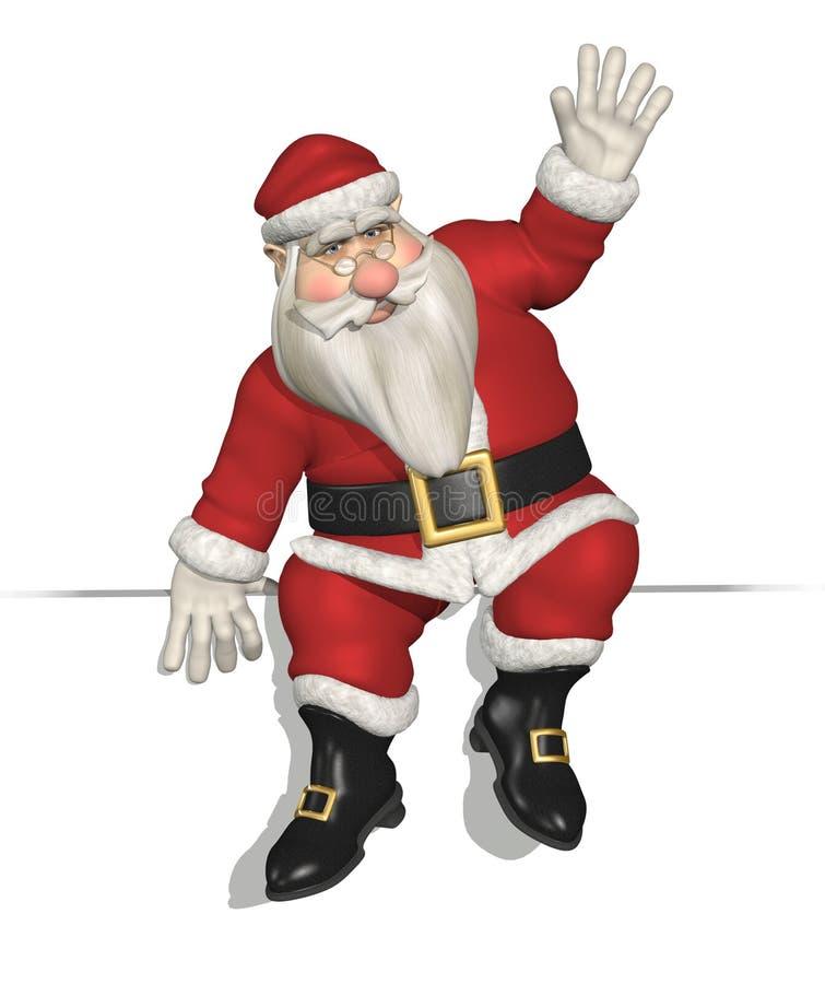 Santa assentou em uma borda ilustração do vetor