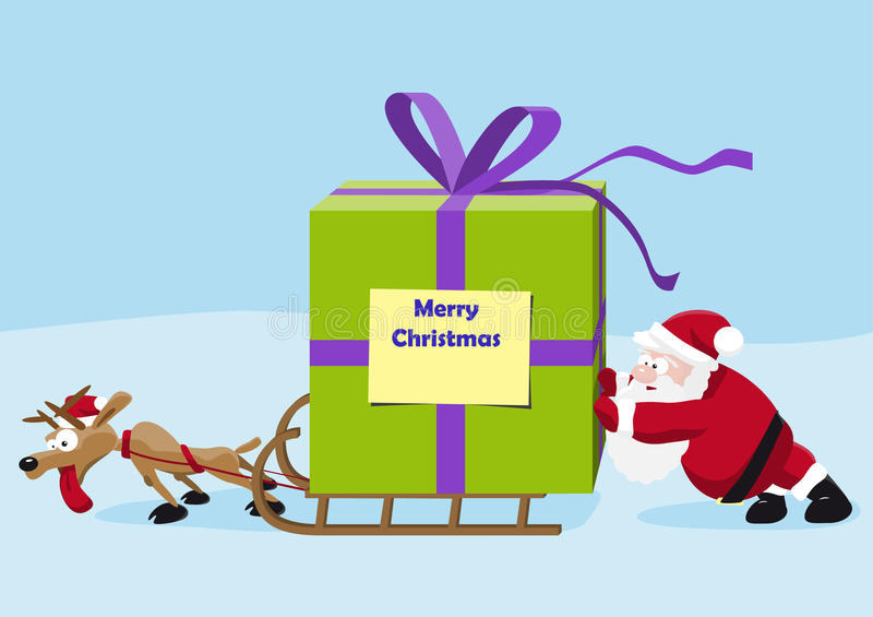 Santa avec des cerfs communs déplacent un cadeau lourd illustration de vecteur
