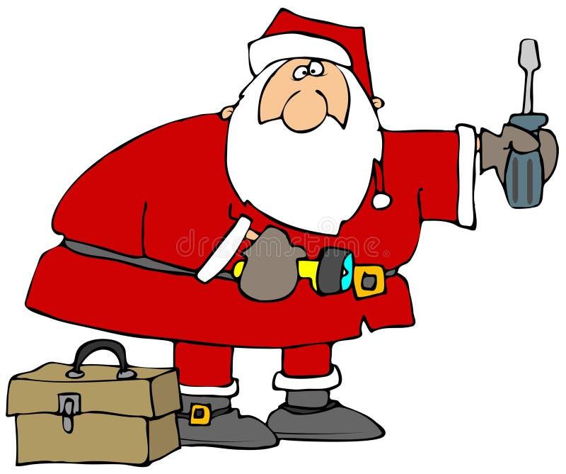 Santa avec des outils illustration de vecteur