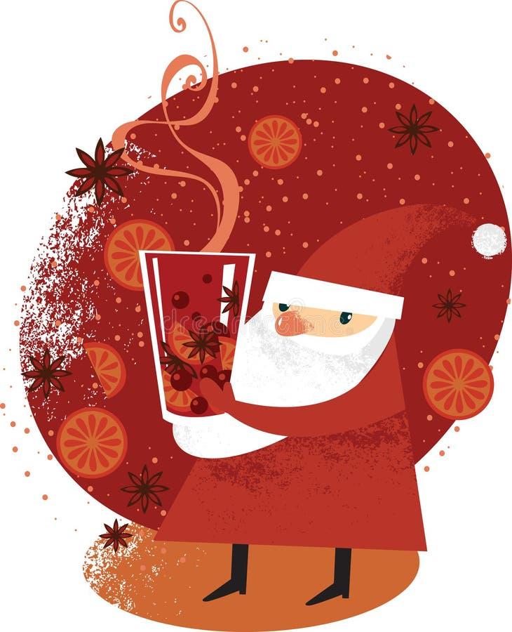 Santa avec du vin chaud illustration de vecteur
