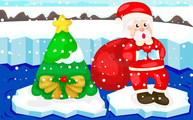 Santa avec l'arbre de Noël illustration libre de droits
