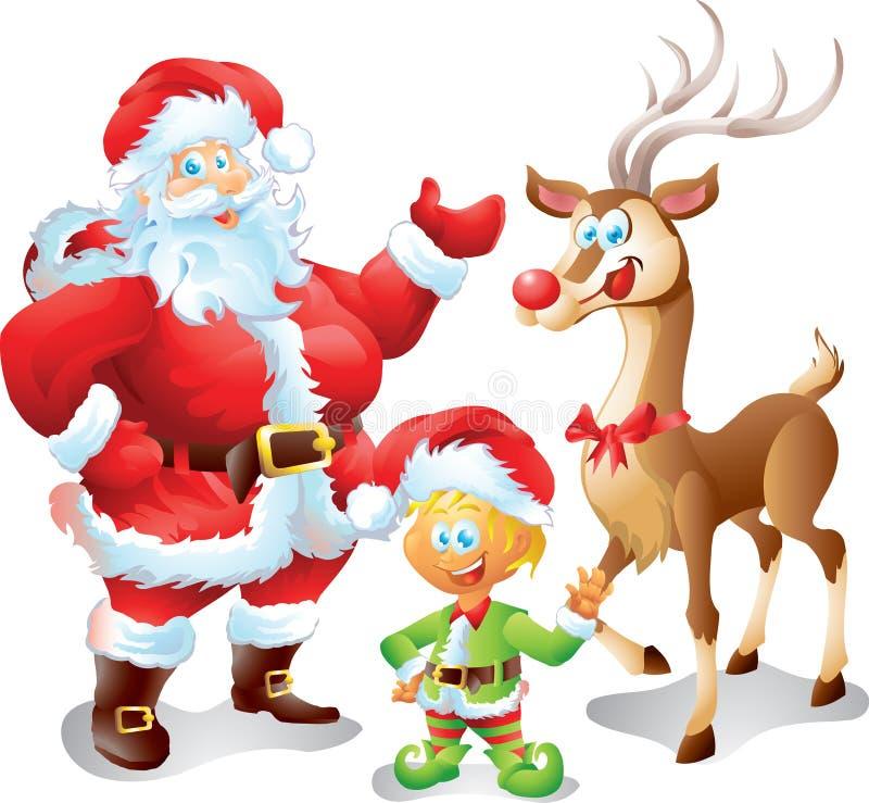 Santa avec l'elfe et le renne illustration stock