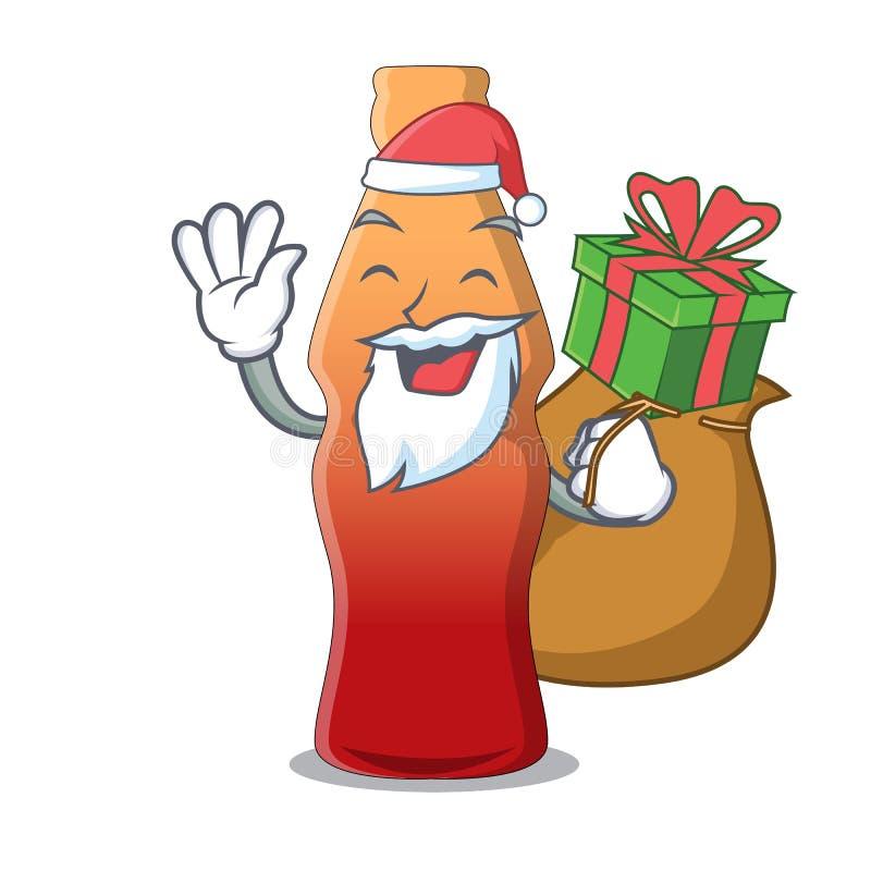 Santa avec la bande dessinée de mascotte de sucrerie de gelée de bouteille de kola de cadeau illustration de vecteur