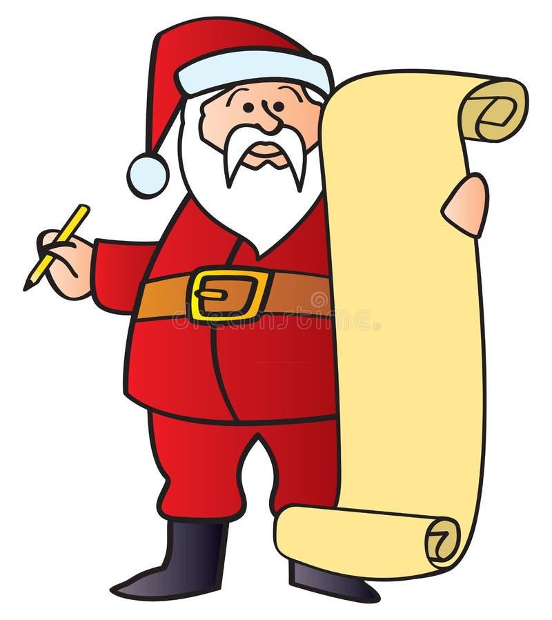 Santa avec la liste illustration de vecteur