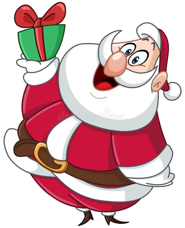 Santa avec le cadeau illustration de vecteur