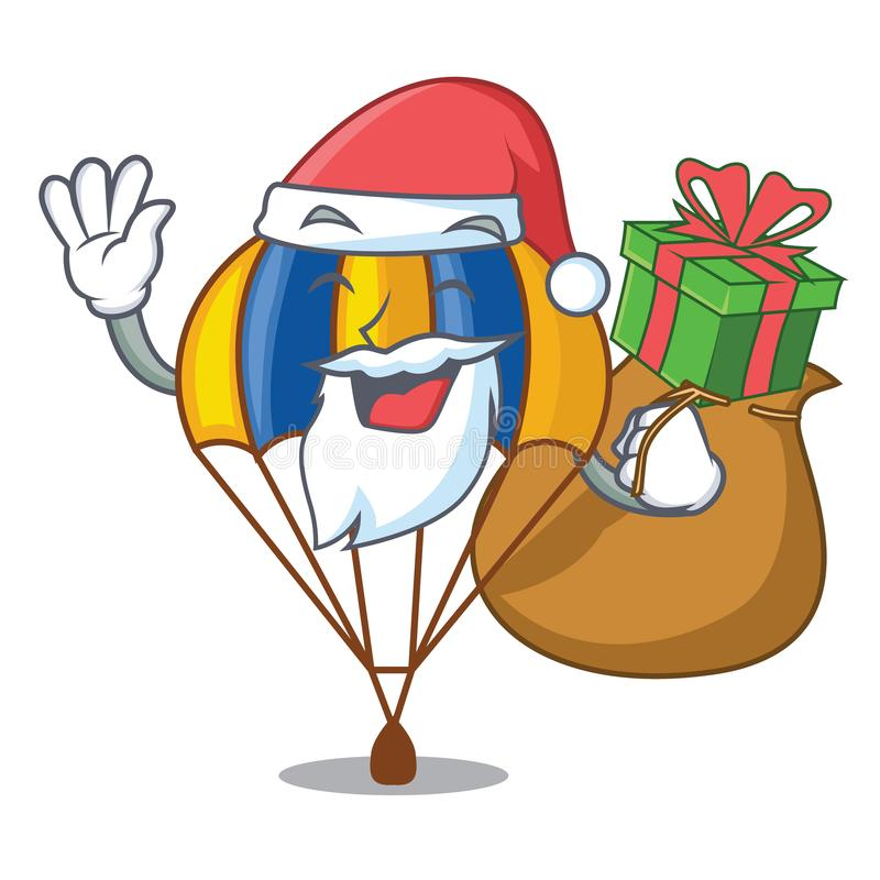 Santa avec le parachute de cadeau dans la forme de l'acartoon fuuny illustration stock