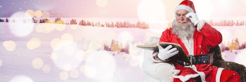 Santa avec le paysage d'hiver illustration de vecteur