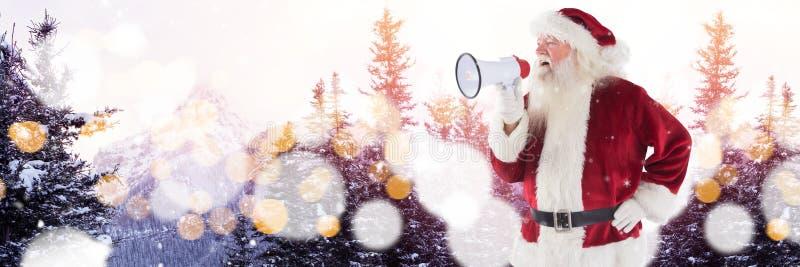 Santa avec le paysage d'hiver avec le haut-parleur illustration libre de droits