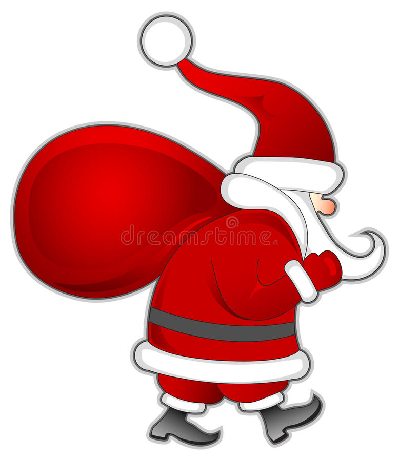 Santa avec le sac illustration stock