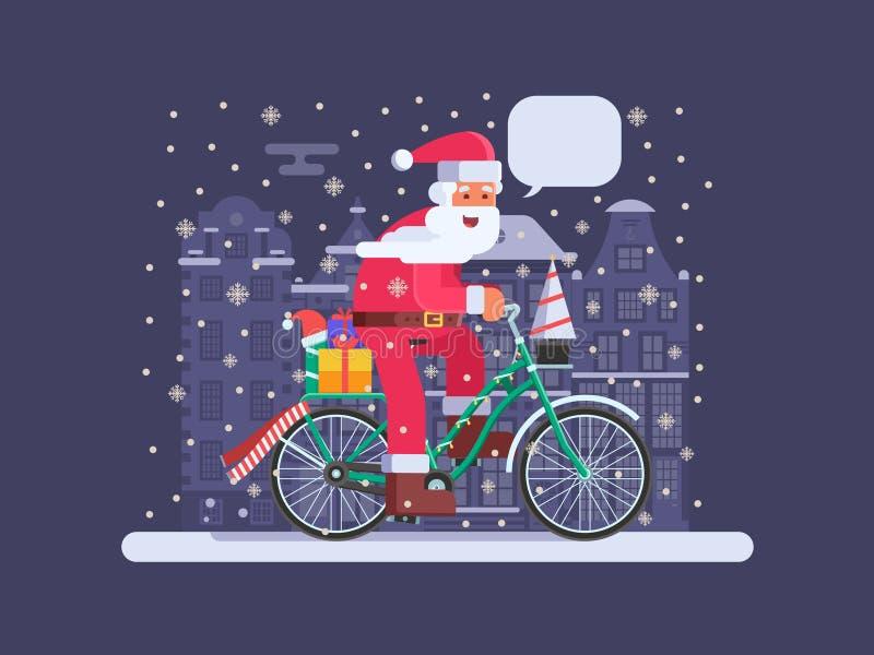 Santa avec le sac de cadeau sur le vélo de Noël illustration de vecteur