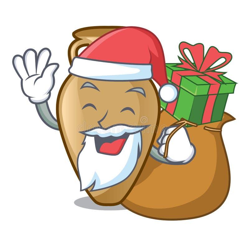 Santa avec le style de bande dessinée de mascotte d'amphore de cadeau illustration stock