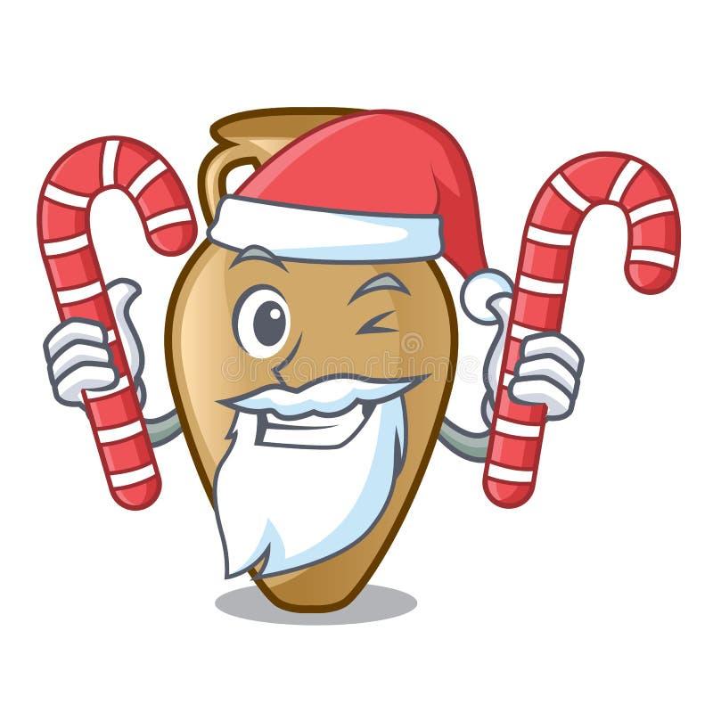 Santa avec le style de bande dessinée de mascotte d'amphore de sucrerie illustration de vecteur