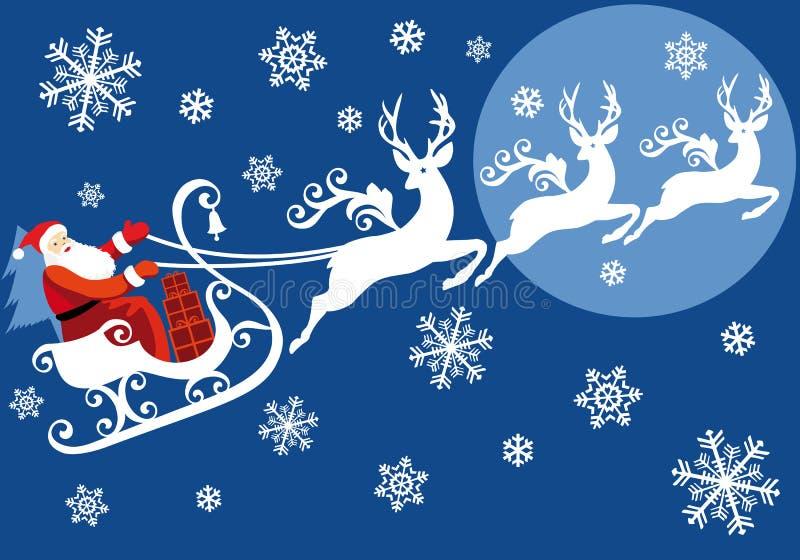 Santa avec son traîneau illustration de vecteur