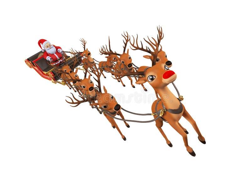 Santa avec son traîneau illustration libre de droits