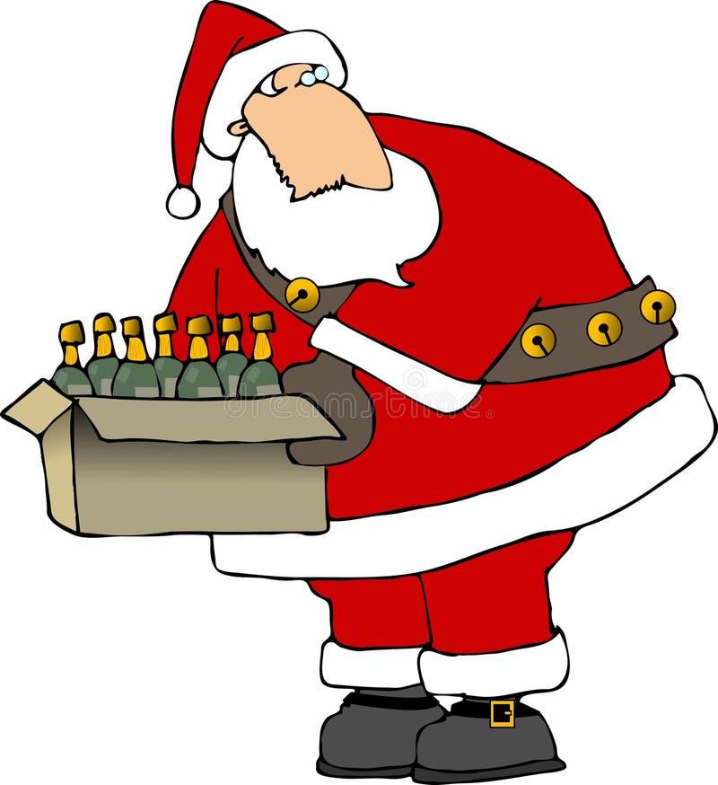 Santa avec un cadre de bouteilles de vin illustration libre de droits