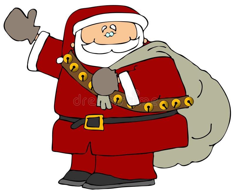 Santa avec un sac des cadeaux illustration libre de droits