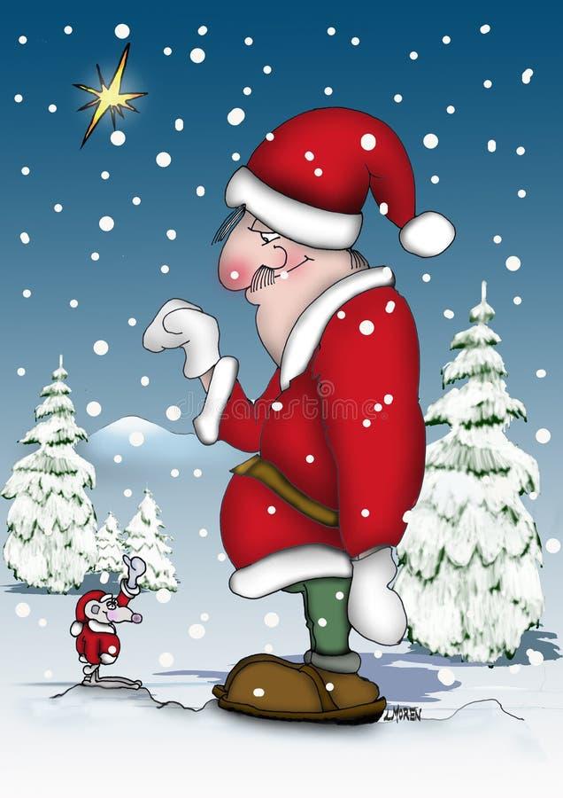 Santa avec une petite souris illustration de vecteur