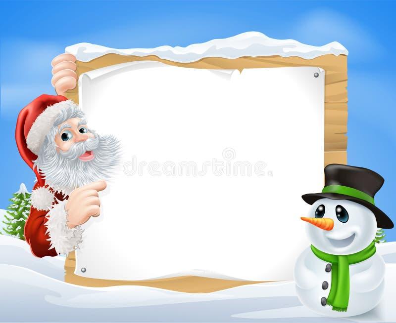 Santa bałwanu śniegu scena ilustracji