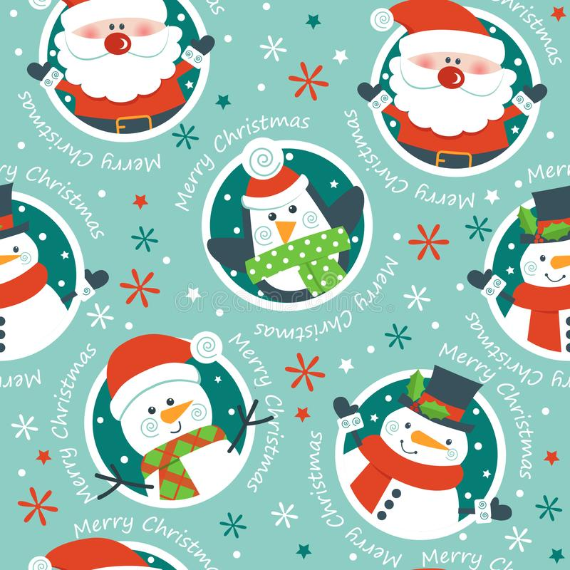 Santa, bałwany i pingwiny na błękitnym tle, royalty ilustracja