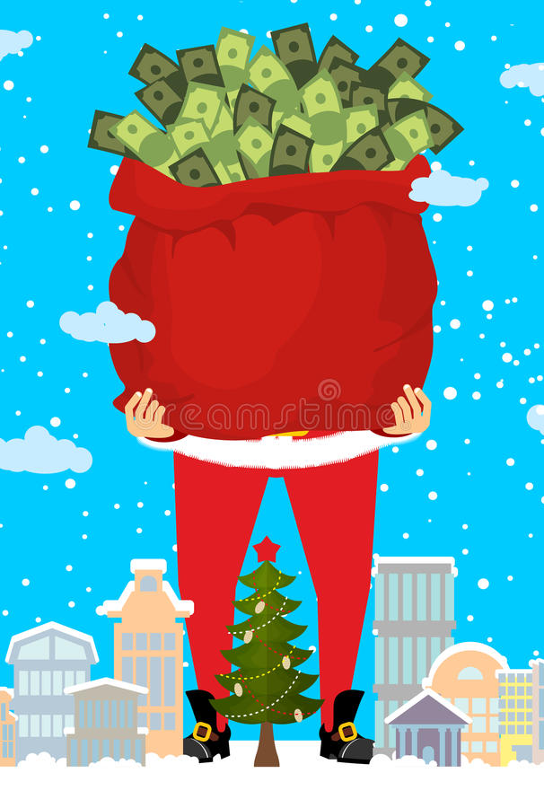 Santa and bag of money. Christmas gift cash. Red sack with dollars stock illustration