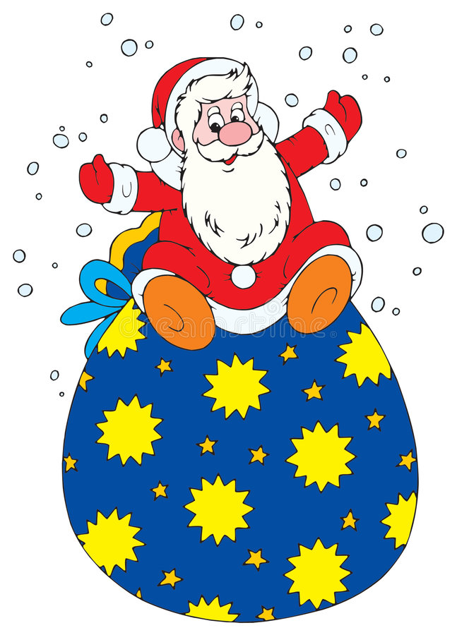 Santa With Bag Of Presents Royalty Free Stock Images