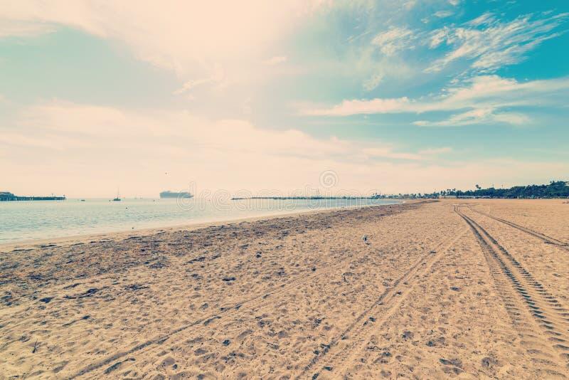 Santa Barbara beach in vintage tone. California stock image