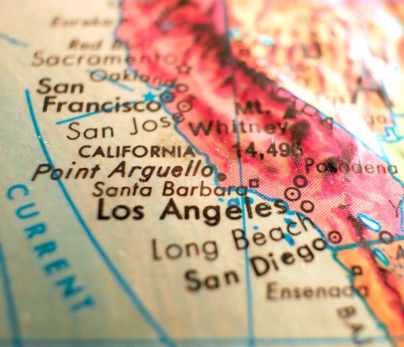 Santa Barbara California-de kaart de V.S. concentreert geschotene macro op bol voor reisbloggen, sociale media, Webbanners en ach royalty-vrije stock foto