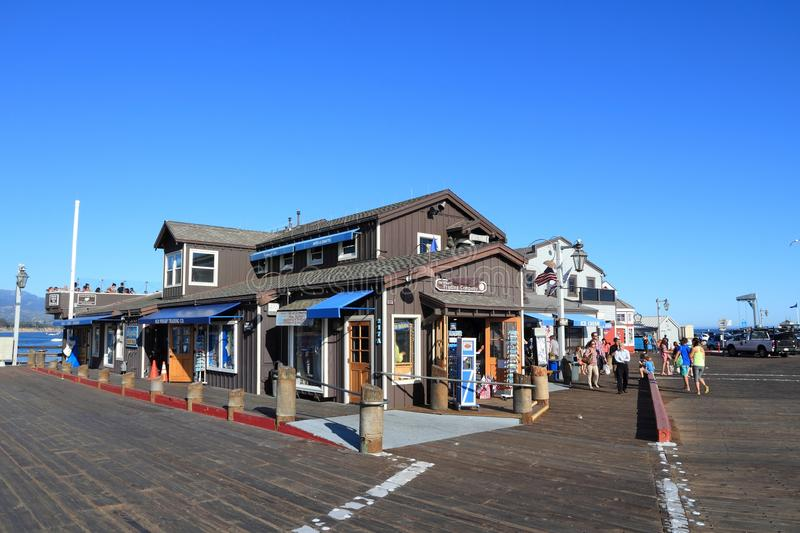 Santa Barbara, California. SANTA BARBARA, UNITED STATES - APRIL 6, 2014: People visit Stearns Wharf in Santa Barbara, California. It was completed in 1872 and is royalty free stock photography