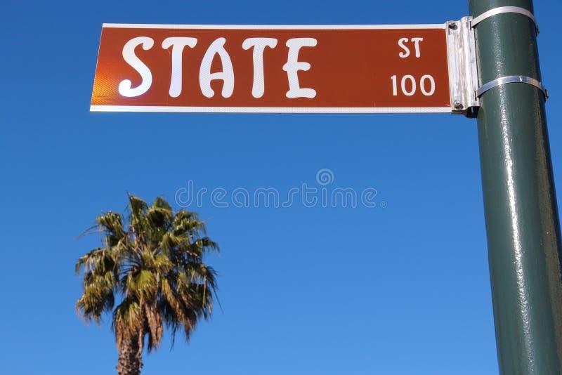 Santa Barbara. California, USA - famous State Street and a palm tree royalty free stock photography