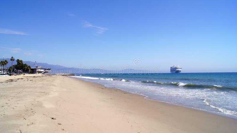 SANTA BARBARA, CALIFORNIA, USA - OCT 8th, 2014: city Leadbetter beach with a cruise liner. SANTA BARBARA, CALIFORNIA, UNITED STATES - OCT 8th, 2014: city royalty free stock photography