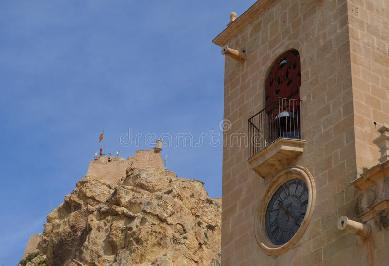 Santa Barbara Castle And The Basilica DE Santa Maria stock foto