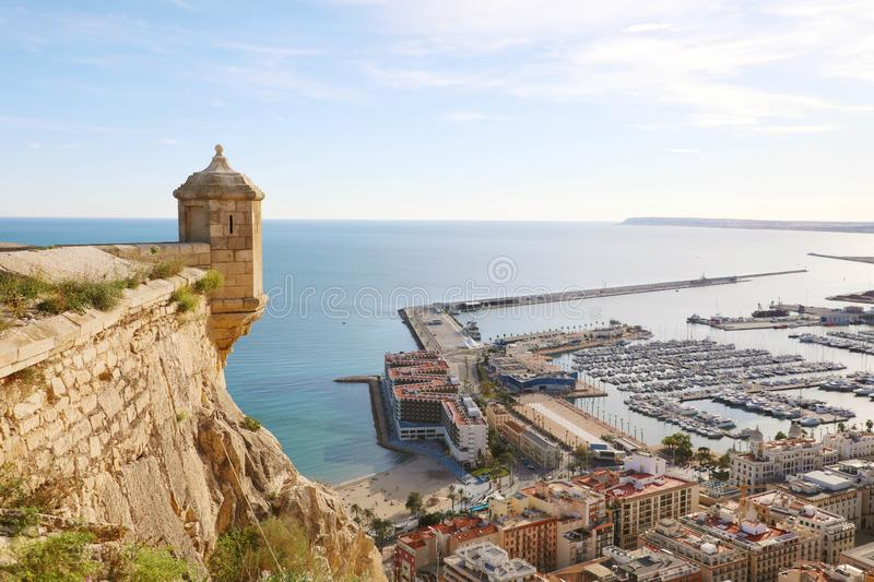 Santa Barbara castle with panoramic aerial view of Alicante famous touristic city in Costa Blanca, Spain.  stock photo