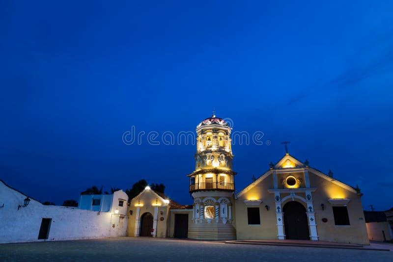 Santa Barbara Church. The Santa Barbara Church at the beginning of the blue hour in Mompox, Colombia stock image